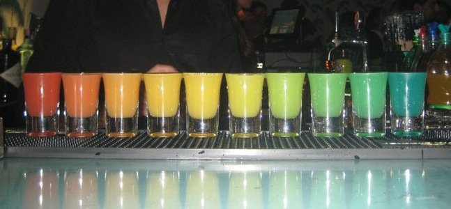 rainbow shots cocktails creme club porto portugal