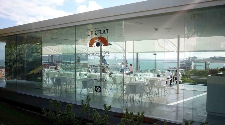Le Chat Lisbon, glass cube cafe, esplanade river views