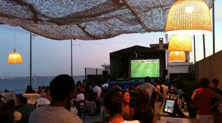clube ferroviario lisboa lisbon terrace views at night