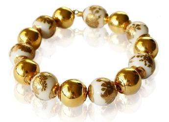 golden winter bracelet affaire jewellery, fine gold and porcelain