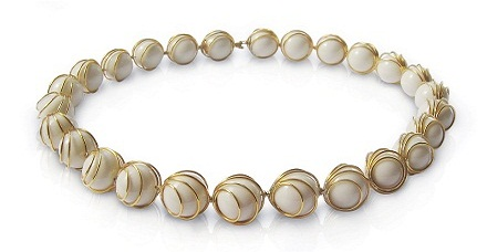 porcelain pearl necklace, affaire jewellery