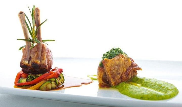 Alentejo lamb with rocket polenta & grilled vegetables,giselas vale do lobo