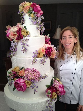 julie and tiered wedding cake, great american cake company,