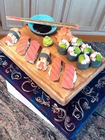 sushi cake, unique cake designs, julie deffense, lisbon cakes