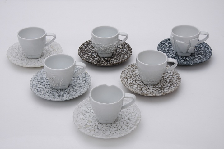 spal studio, recycled pottery porcelain, recycled cups saucers