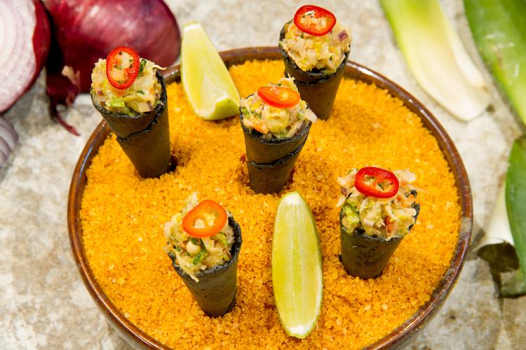 zazah restaurant lisbon, crab cones,